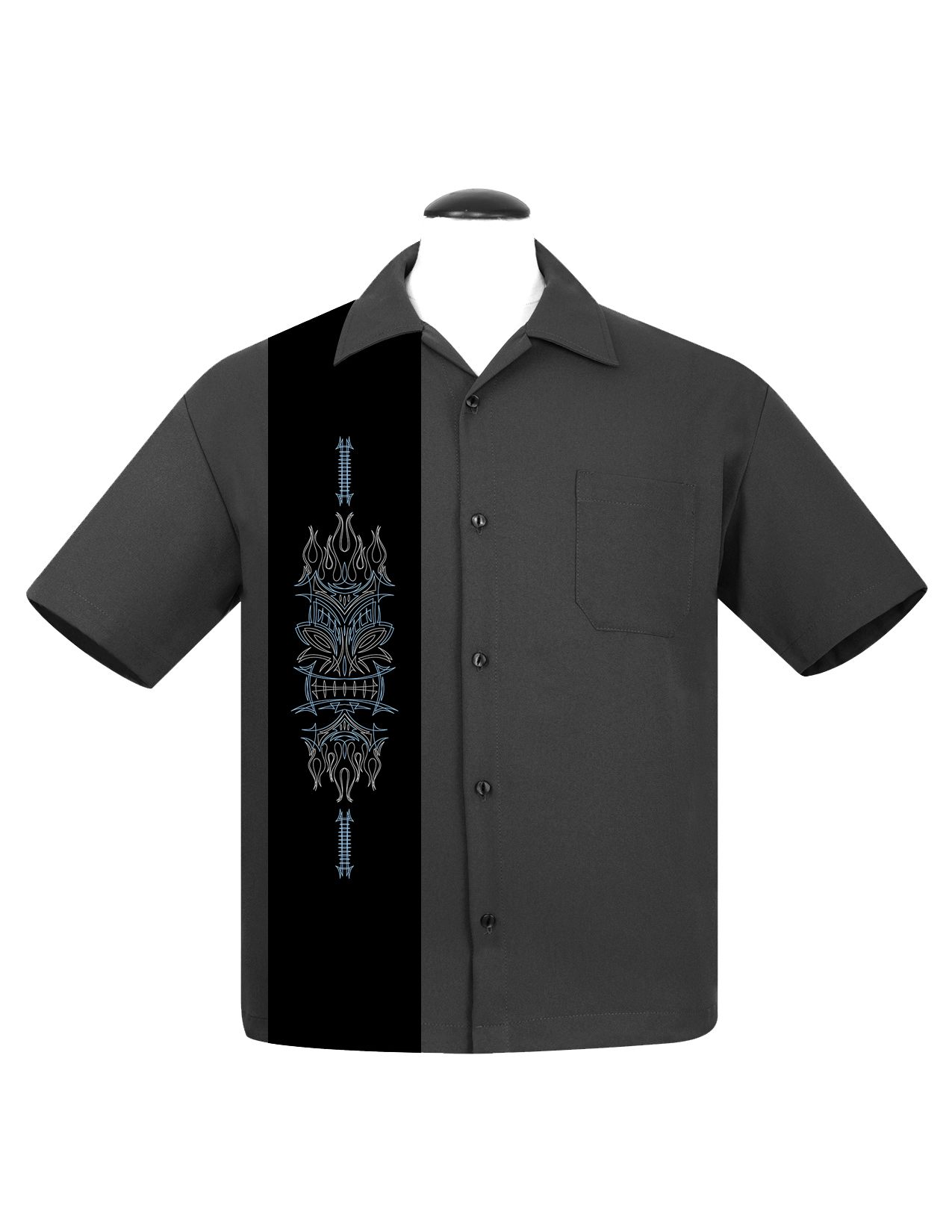 Charcoal Pinstripe Tiki Panel Bowling Shirt