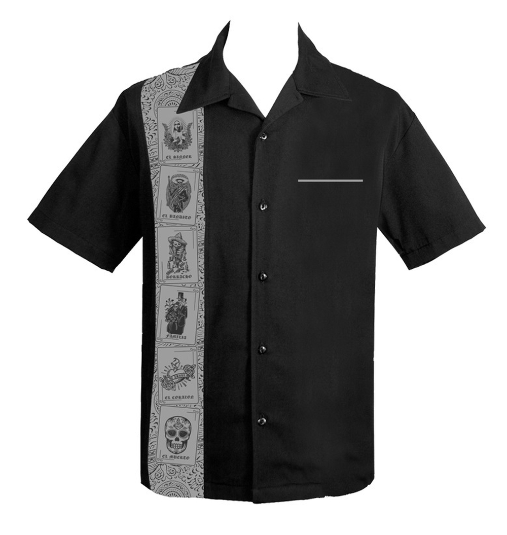 El Lottery Mens Button Up Shirt in Black