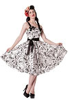 Hell Bunny White Tattoo Flocked Dress