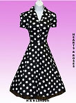H&R London Big Dot Black Polka Dot Vintage Style Swing Dress