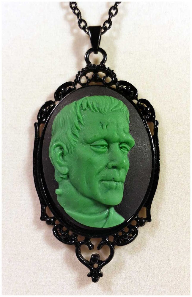Frankenstein Green Cameo Necklace