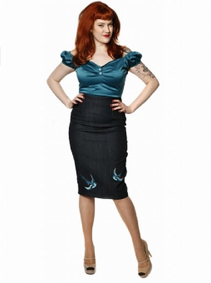 Collectif Helga Denim Swallow Skirt