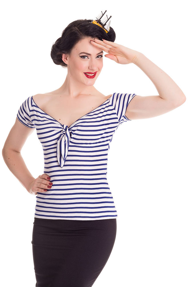 Hell Bunny Dolly Navy Top