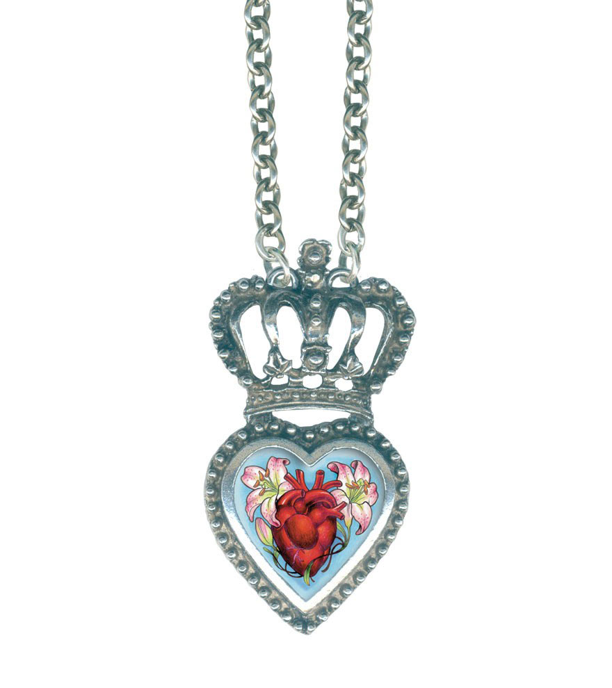 Classic Hardware Medium Anatomical Heart Crowned Heartware Frame Necklace