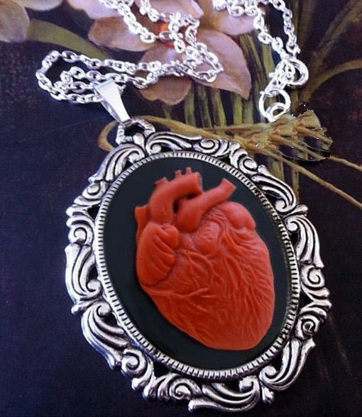 Red Anatomical Heart Black Cameo Necklace