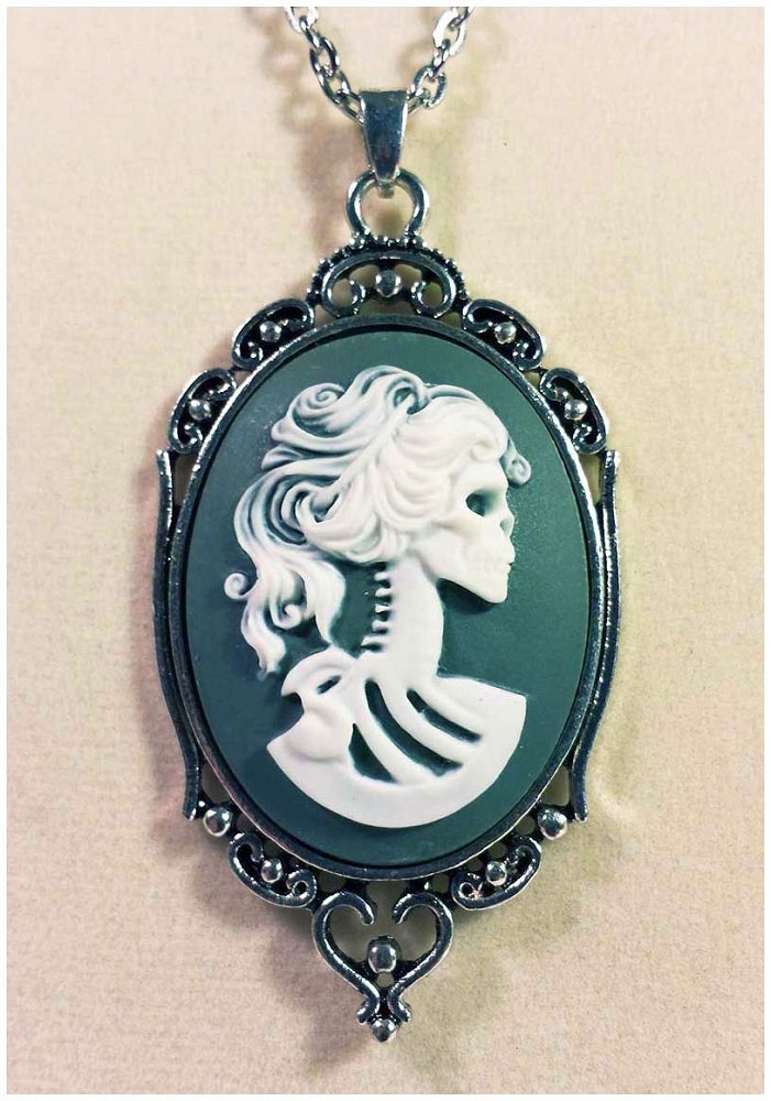 Lolita Gray Skeleton Cameo Necklace