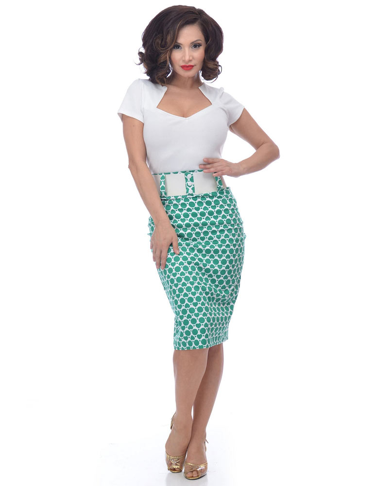 Go Go Green Polka Heart Wiggle Skirt