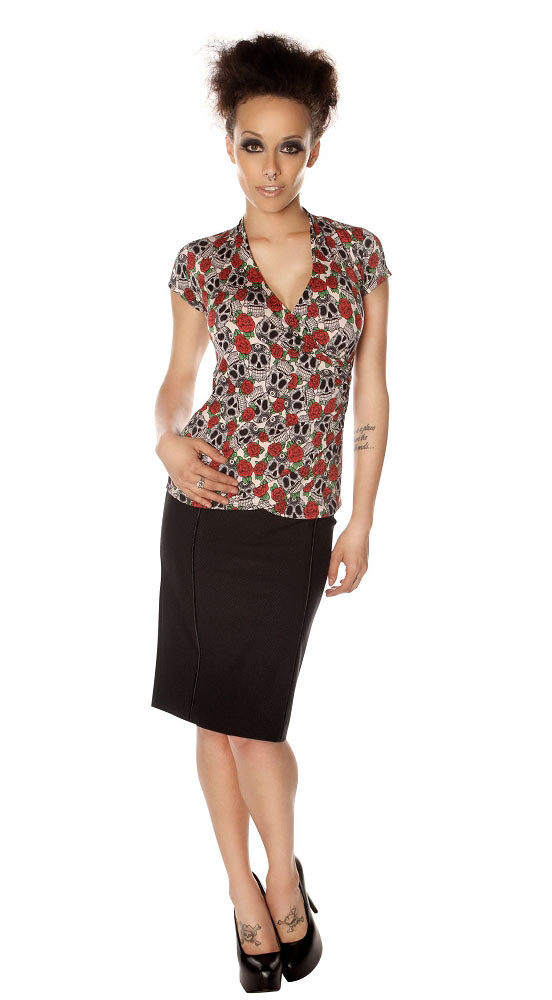 Folter Hearts and Skulls Faux Wrap Top