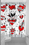 Tattooed Hearts Shower Curtain