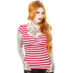Va Va Voom Red and White Striped Top