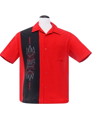 Red Pinstripe Tiki Panel Bowling Shirt