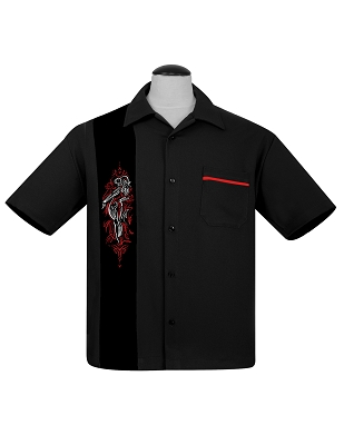 Black Pinstripe Pinup Panel Bowling Shirt