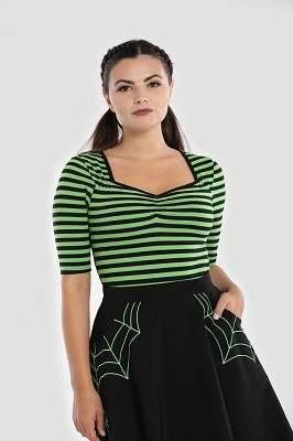 Hell Bunny Green and Black Warlock Top