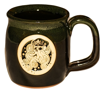 Handmade Pottery Tentacle Rises Sea Green Java Lover Octopus Coffee Mug