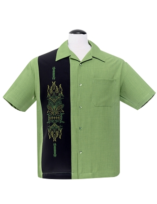 Green Pinstripe Tiki Panel Bowling Shirt