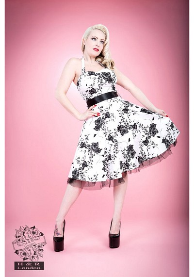 H&R London White Floral Retro Swing Dress