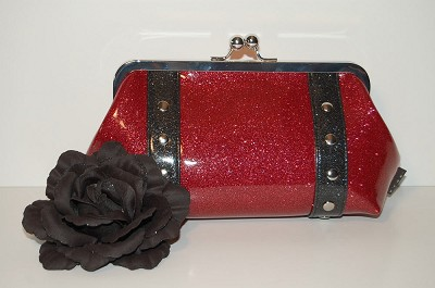 Hold Fast Handbags Fuschia Retro Clutch