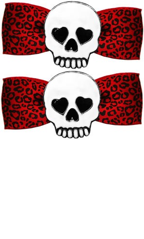 Skully Red Leo Bow Barrette