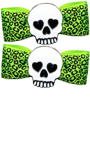 Skully Green Leo Bow Barrette