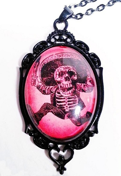 Sombrero Skeleton Day of the Dead Cameo Necklace