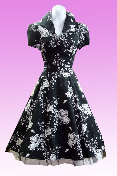 Black and White Floral Vintage Style Swing Dress