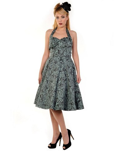 Skulls on Green 50's Halter Dress