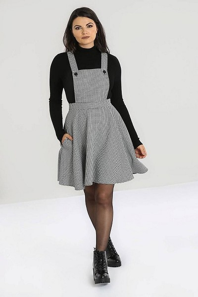 Hell Bunny Harvey Dogtooth Pinafore Dress Houndstooth
