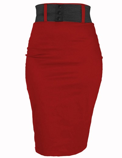 Steady Red Strut Skirt with Black Belt