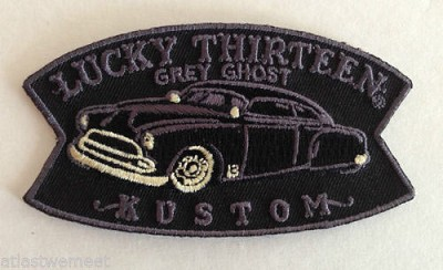 Lucky 13 Grey Ghost Small Embroidered Patch